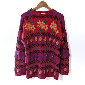 Vintage 90s Knit Oversized Mom Sweater Small